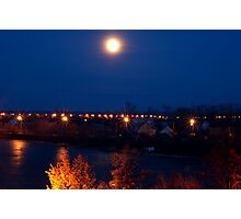 Night lights over the river Photographic Print