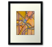 Yellow Hues Original Abstract Acrylic on Canvas Framed Print
