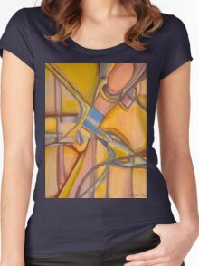 Yellow Hues Original Abstract Acrylic on Canvas Women's Fitted Scoop T-Shirt