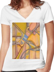 Yellow Hues Original Abstract Acrylic on Canvas Women's Fitted V-Neck T-Shirt
