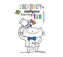 Creativity ... Einstein's quote / Cat doodles Photographic Print