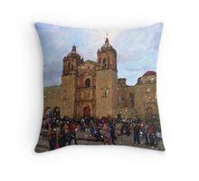 Church at dusk, Oaxaca City Throw Pillow