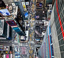 Manhattan in motion - bird's eye Times Square by mindrelic