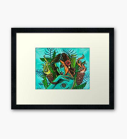 Man Eater Pin Up Girl Framed Print