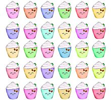 Fruity Happy Frappe Coffee Pastel Pattern Photographic Print
