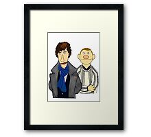 Sherlock and John Muppet Style Framed Print