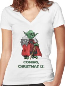 Yoda Stark Christmas Women's Fitted V-Neck T-Shirt