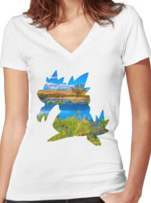 Feraligatr used surf Women's Fitted V-Neck T-Shirt