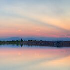Rocky Mountain Sunset Series - Pink &amp; Blue Mountains Panorama by Jonathan Bartlett