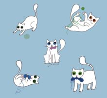 White Cats Stealing Yarn One Piece - Short Sleeve