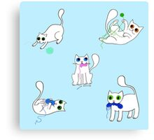 White Cats Stealing Yarn Canvas Print