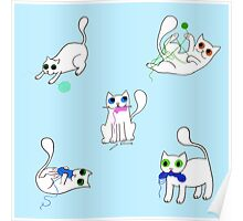 White Cats Stealing Yarn Poster