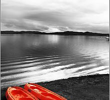 Calm Lake and Canoes by JCMPhotos