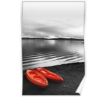 Calm Lake and Canoes Poster