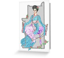 Red China Rose & Pearls Greeting Card
