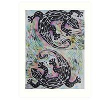 Woodcut Lizards Art Print