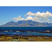 Table mountain from robben island Photographic Print
