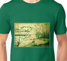 The Danube And A Boat - in green Unisex T-Shirt