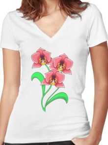 Bold Orchids  Women's Fitted V-Neck T-Shirt