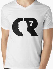 CR7 logo black Mens V-Neck T-Shirt