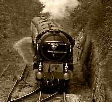 Tornado steam train in b&w by ANDREW BARKE