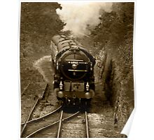 Tornado steam train in b&w Poster