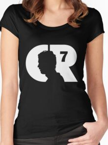 CR7 logo white Women's Fitted Scoop T-Shirt