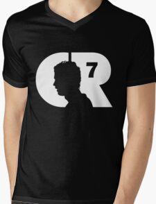 CR7 logo white Mens V-Neck T-Shirt