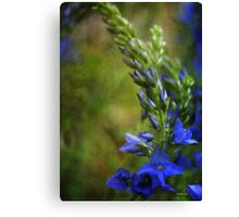 Grunge Blue Flowers #2 Canvas Print
