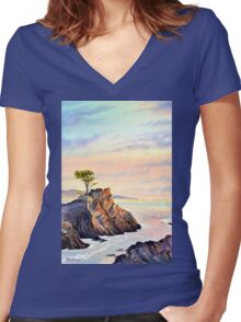 Lone Cypress Tree Pebble Beach California Women's Fitted V-Neck T-Shirt