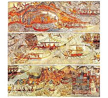 Minoan Miniature Frieze Admirals Flotilla Fresco Art Photographic Print