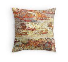 Minoan Miniature Frieze Admirals Flotilla Fresco Art Throw Pillow