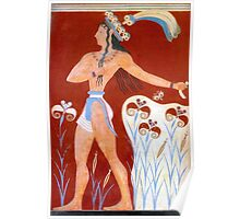 Minoan Priest King Feathered Prince of Lilies Fresco Art  Poster