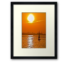 USA. Massachusetts. Boston. Harbor. Sunset. Framed Print