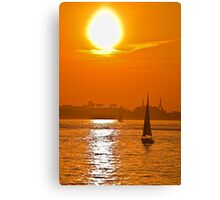 USA. Massachusetts. Boston. Harbor. Sunset. Canvas Print