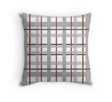 Gray Red Plaid Throw Pillow