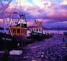 Fishing boats in the evening at lyme regis cobb by Michael Schmid