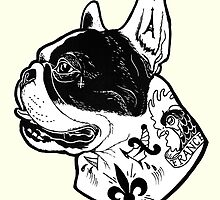 Tattooed French Bulldog by PaperTigressArt