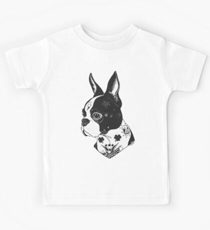 Tattooed Boston Terrier  Kids Tee