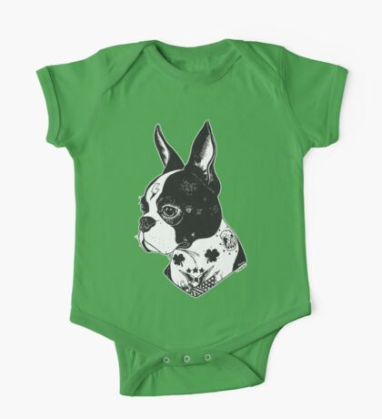Tattooed Boston Terrier  One Piece - Short Sleeve