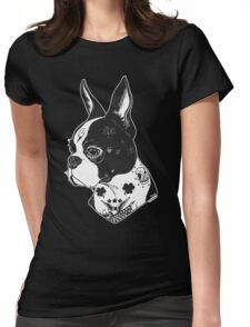 Tattooed Boston Terrier  Womens Fitted T-Shirt