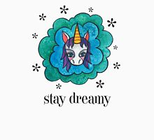 Stay Dreamy: Cute Unicorn Drawing Watercolor Illustration  Womens Fitted T-Shirt