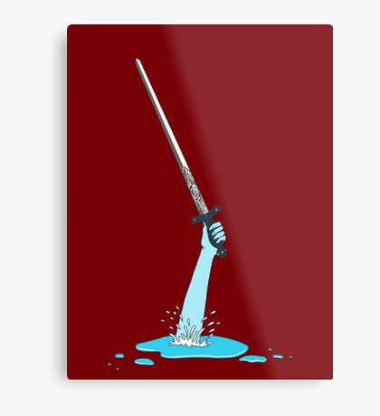 Excalibur and the Lady of the Puddle Metal Print