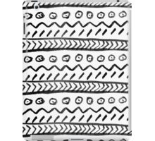 Back white watercolor hand drawn aztec pattern iPad Case/Skin