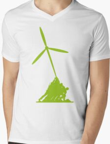 Raising wind turbines Mens V-Neck T-Shirt