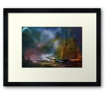 The meeting in the moonlight. Framed Print