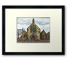68 - ST. CUTHBERT'S R.C. CHURCH, COWPEN - DAVE EDWARDS - INK & COLOURED PENCILS - 1997 Framed Print