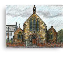 68 - ST. CUTHBERT'S R.C. CHURCH, COWPEN - DAVE EDWARDS - INK & COLOURED PENCILS - 1997 Canvas Print