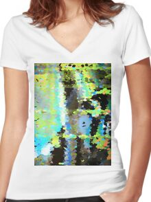 Lake surface reflecting tree blossoms Women's Fitted V-Neck T-Shirt