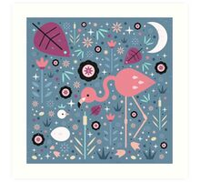 Flamingo & Chick  Art Print